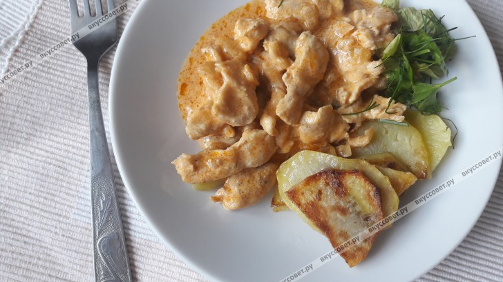 Бефстроганов из курицы пошаговый рецепт с фото