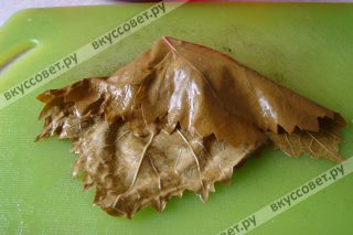 Сворачиваем виноградный лист как показано на фото