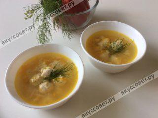 Все дети в восторге от такого вкусного супа, в его составе, любимые макароны, круглые фрикадельки и по-больше зелени и сметаны