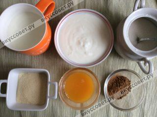 Для тортика нам необходимо 300 мл натурального йогурта и остальное по списку ингредиентов